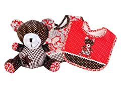Chocolate Kiss Bear Bib & Buddy Set
