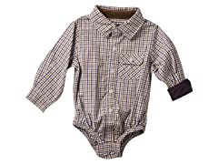 Infant Oxford Shirtzie - Eggplant & Brown (3M-24M)