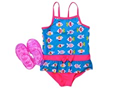Turquoise Fish Swimsuit Set (12M-4T)