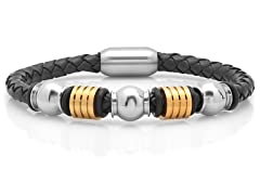 Men's Braided Leather Bracelet w/ Accent