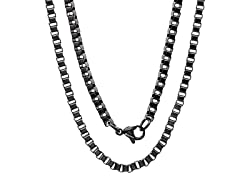 "24"" Stainless Steel Black Link Box Chain"