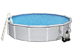 18-ft Round Metal Wall Swimming Pool Package