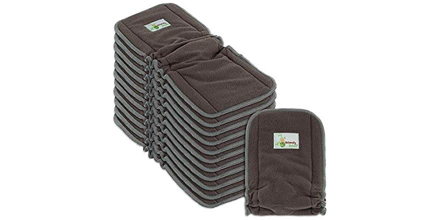 Naturally Natures Cloth Diaper Inserts 5 Layer - Insert - Charcoal Bamboo Reusable Diaper Liners with Gussets (Pack of 12) | WOOT