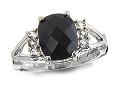 SS, Onyx & White Topaz Ring
