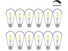 LED Edison Bulb, Dimmable, 12-pack