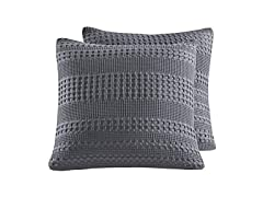 PHF Waffle Weave Euro Sham Pillow Cover, 2Pk