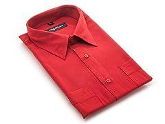 Oleg Cassini Men's Dress Shirt, Red