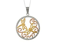 Three-Tone Butterflies Necklace