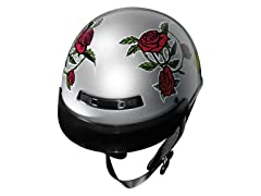 GLX Silver Rose Half Helmet