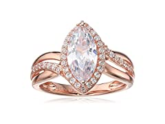 Pink Gold Cubic Zirconia Marquise Ring