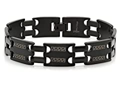 SS Black IP Link Bracelet w/ Greek Key Accent
