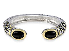 Regal Jewelry 18K Gold-Plated Simulated Black Diamond Bangle With Design