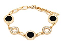 Black/White Swarovski Elements Double Disc Bracelet