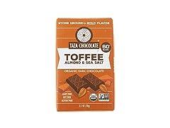 Taza Chocolate Organic Amaze Bar 60% Stone Ground, Toffee Almond Sea Salt