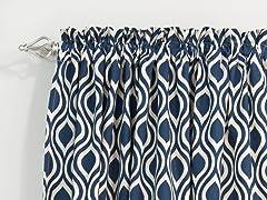 Nichole Rod Pocket Curtain Panel - Indigo - 3 Lengths
