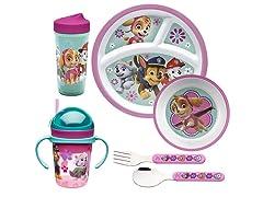 Zak Designs Paw Patrol Girl 6 pc Dinnerware Set