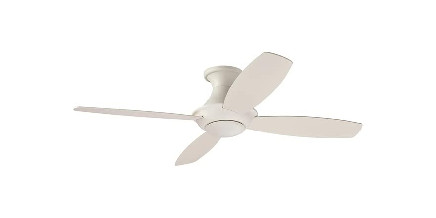 Amazon Brand – Stone & Beam Modern Remote Control Flush Mount Ceiling Fan With Integrated LED Light - 52 x 52 x 11.54 Inches, White   WOOT