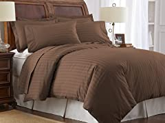 500TC Cotton Duvet Cover Set-Brown-2 Sizes