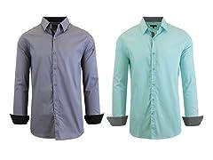 GBH Men's LS Stretch Dress Shirt 2-Pack