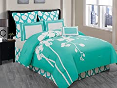 April Orchidea 7Pc Comforter Set-Green-2 Sizes