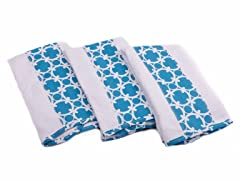 3 Pack Premium Burp Cloth - Aqua