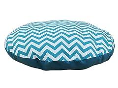"Zig Zag True Turquoise 36"" Round Pet Bed"