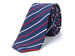 Silk Tie, Navy w/ Red & White