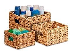 3Pc Nesting Water Hyacinth Baskets