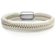 Men's Leather Bracelet, White
