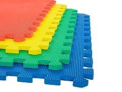4 Pk Interlocking EVA Foam Floor Mats Multi Color 24x24x0.50