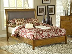 Upholstered Sleigh Bed in Pecan (2 Sizes)
