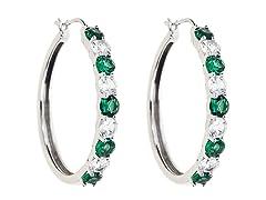 Created White Sapphire & Sim. Emerald Hoop Earring