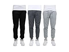 Mens Regular-Fit Fleece Jogger Sweatpants 3PK