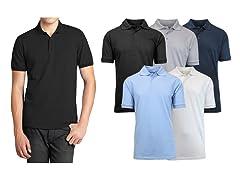 Men's Premium Cotton Blend Polos 5-Pack