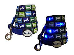 Dog-e-Glow Blue Bones LED Lighted leash 6'