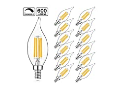 LED 60W Dimmable Candelabra Bulbs, 2700K