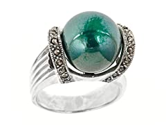 SS Marcasite Green Cultured Freshwater Pearl Ring