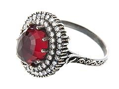 SS Otantic Oval Ruby Hydro Genuine Semi-Precious Gemstone CZ Ring