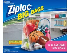 Ziploc Big Bag Double Zipper, XL, 4 Ct
