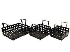 Iron Strap Square Baskets Set of 3