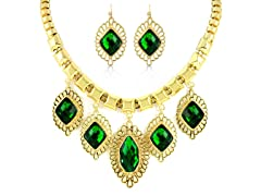 Gold-Plated Green Emerald Fancy Jewelry