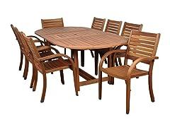 9-Piece Eucalyptus Oval Dining Set