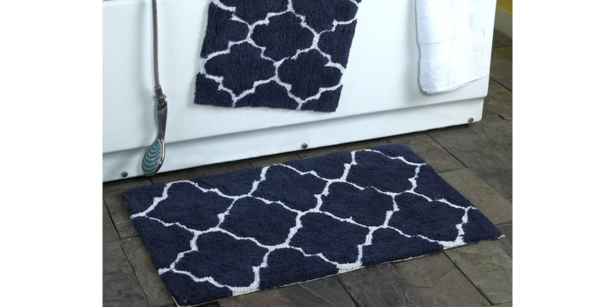 2 Piece Moroccan Trellis 100 Cotton Bath Rug Set