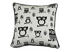 Hooty Black 17x17 Pillow