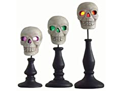 LED Skulls on Pedestals Set of 3