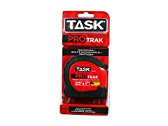 Task Tools 25-Feet ProTrak Tape Measure, Red