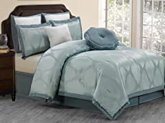 Hampshire 8pc Comforter Set-Blue- Queen