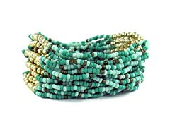 Multi Strand Blue Bead Stretch Bracelet