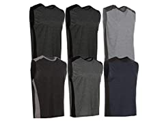 Men's Active Athletic Performance Tank Tops or Tees 6-Pack