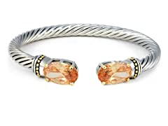 Regal Jewelry 18K Gold-Plated Chmpagne Simulated Diamond Bangle